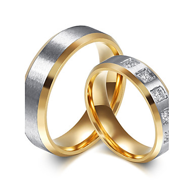 Couple's AAA Cubic Zirconia Couple Rings - Simple Style, Fashion, Elegant 5 / 6 / 7 / 8 / 9 Gold For Wedding Engagement Daily