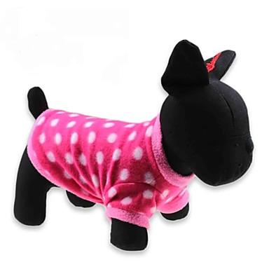 Kedi Köpek Tişört Köpek Giyimi Yuvarlak Noktalı Kırmzı Polar Kumaş Kostüm Evcil hayvanlar için
