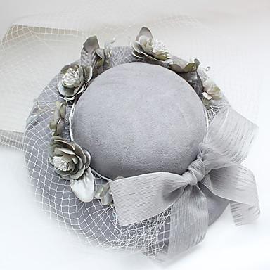 Edelstein & Kristall Tüll Chiffon Baumwollflanell Stoff Fascinatoren Hüte Kopfbedeckung with Kristall Feder 1 Hochzeit Besondere Anlässe