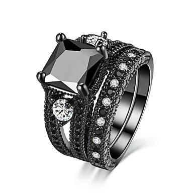 Women's AAA Cubic Zirconia / Obsidian Band Ring - Luxury, Vintage 5 / 6 / 7 Matt black For Wedding / Engagement / Ceremony