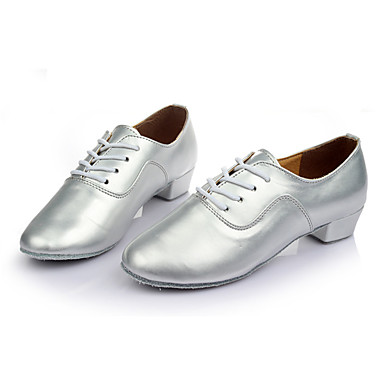 Men's Latin Shoes Leatherette Sneaker Customized Heel Customizable Dance Shoes Silver