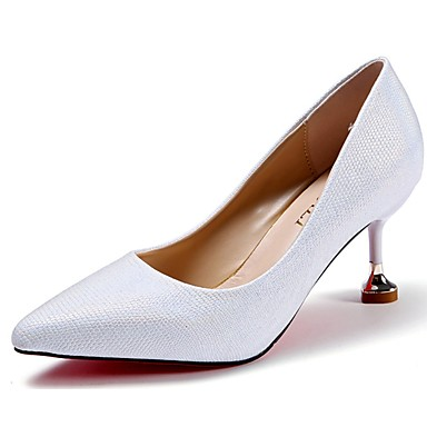 Women's Shoes PU(Polyurethane) Summer Comfort Heels Stiletto Heel Pointed Toe Black / Silver / Light Pink / Dress