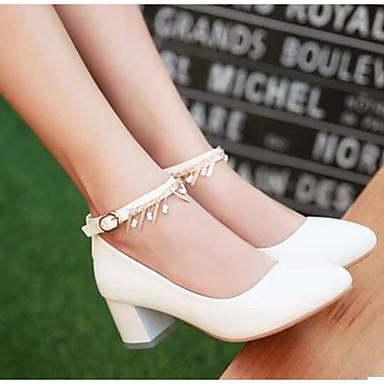 Damen Schuhe PU Frühling Komfort High Heels Blockabsatz Für Normal Beige Blau Rosa