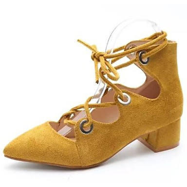 Női Cipő PU Ősz Kényelmes Magassarkúak Gyalogló Lapos Erősített lábujj mert Fekete Szürke Sárga Rózsaszín