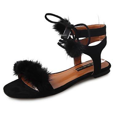 Damen Schuhe PU Frühling / Sommer Komfort Sandalen Niedriger Heel für Schwarz / Beige