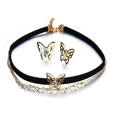 Női Szintetikus gyémánt Ékszer szett - Csokornyakkendő Divat tartalmaz Beszúrós fülbevalók Nyaklánc medálok Arany Kompatibilitás Parti Ajándék Napi