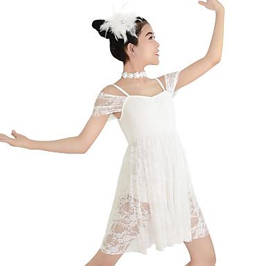 Ballroomdansen Jurken Dames Kinderen Prestatie elastan Polyester Kant  2-delig Korte Mouw Hoog Kleding Hoofddeksels