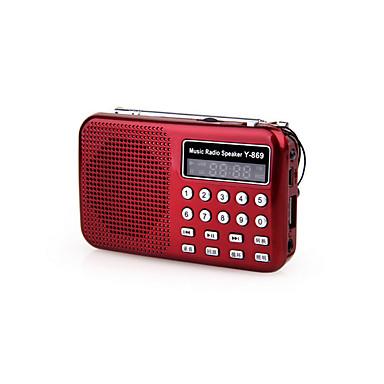 Y-869 FM Hordozható rádió MP3 lejátszó TF kártya Világvevõ Fekete / Piros / Kék