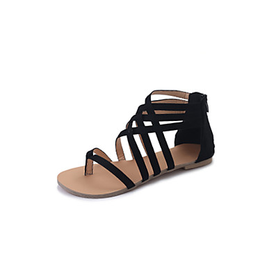 Women's Shoes PU(Polyurethane) Spring Comfort Sandals Black / Gray