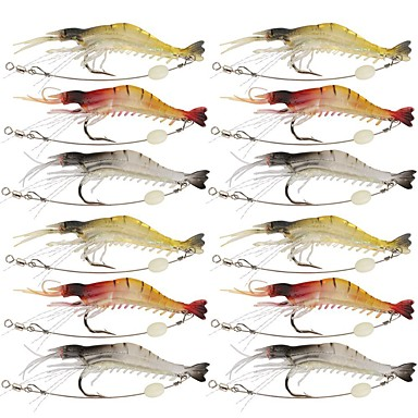 12 pcs Fishing Lures Craws / Shrimp Jerkbaits Soft Bait Silicone Silicon Luminous Sea Fishing Fly Fishing Bait Casting Ice Fishing