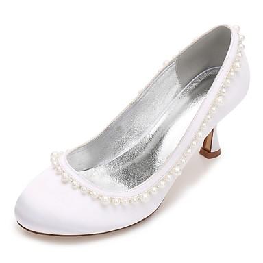 Női Cipő Szatén Tavasz / Nyár Kényelmes / Magasított talpú Esküvői cipők Cicasarok / Alacsony / Tűsarok Kerek orrú Gyöngy / Hamis gyöngy