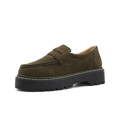 Damen Schuhe PU Vlies Frühling Herbst Gladiator Komfort Loafers & Slip-Ons Blockabsatz Runde Zehe für Normal Draussen Schwarz Armeegrün