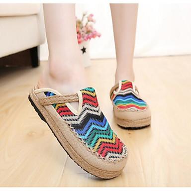 Damen Flache Schuhe Komfort Sommer Stoff Normal Rot Regenbogen Flach