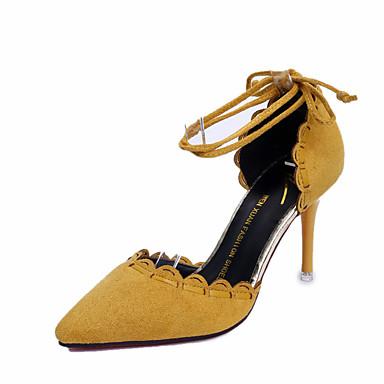 Naisten Kengät Kashmir Kesä Sandaalit Kävely Stilettikorko Terävä kärkinen Helmillä varten Musta Keltainen Vihreä
