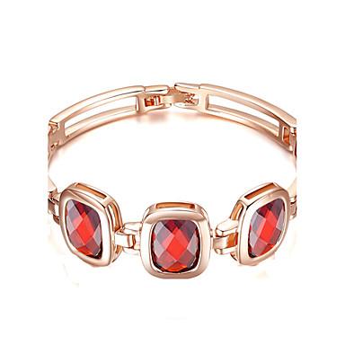 Damen Kubikzirkonia vergoldet Ketten- & Glieder-Armbänder - Modisch Rechteck Gold Armbänder Für Party Valentinstag