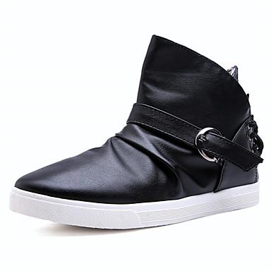 Herrn Schuhe Leder Sommer Herbst Komfort Leuchtende Sohlen Sneakers Walking für Normal Draussen Weiß Schwarz