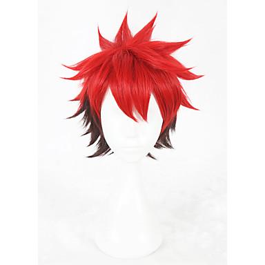 Szintetikus parókák / Jelmez parókák Egyenes Szintetikus haj Faux Locs Paróka Piros Paróka Rövid Sapka nélküli Piros