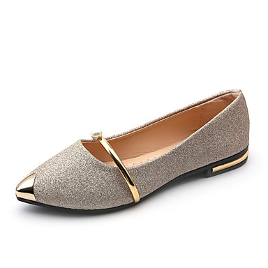 Women's Shoes PU(Polyurethane) Summer Light Soles Flats Flat Heel Pointed Toe Pearl Gold / Black / Silver