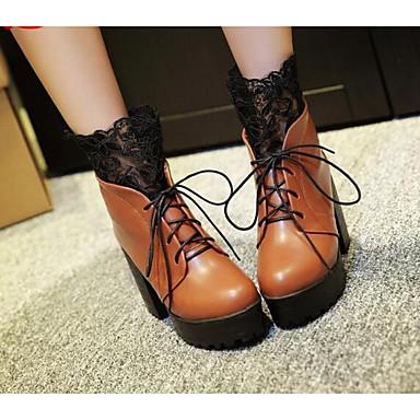 Damen Schuhe Leder PU Winter Herbst Komfort Modische Stiefel Stiefel für Normal Schwarz Gelb Burgund
