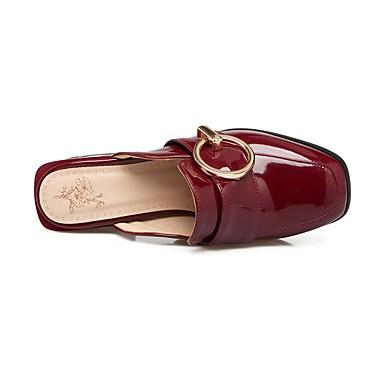 Damen Schuhe PU Sommer Komfort Sandalen Niedriger Absatz Blockabsatz Quadratischer Zeh Für Normal Weiß Schwarz Rot