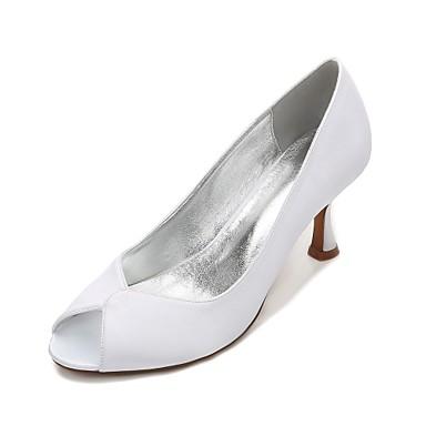 Women's Shoes Satin Spring Summer Comfort Wedding Shoes Kitten Heel Low Heel Stiletto Heel Peep Toe Split Joint for Wedding Party &