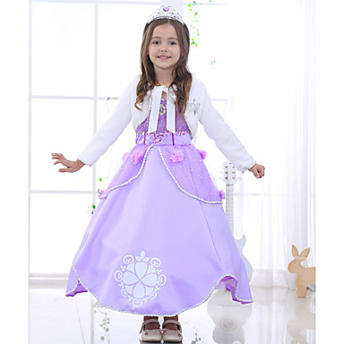 Girl's Solid Floral Jacquard Dress, Cotton Rayon Polyester All Seasons Short Sleeves Floral Bow Purple