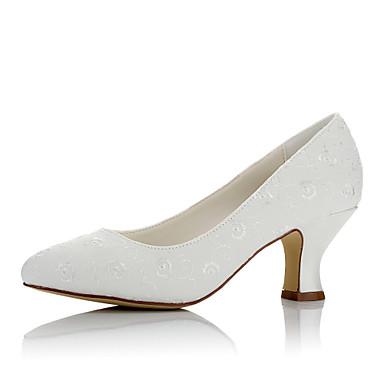 Női Cipő Szatén Ősz / Tél Kényelmes Esküvői cipők Vaskosabb sarok Kerek orrú Kristály / Party és Estélyi