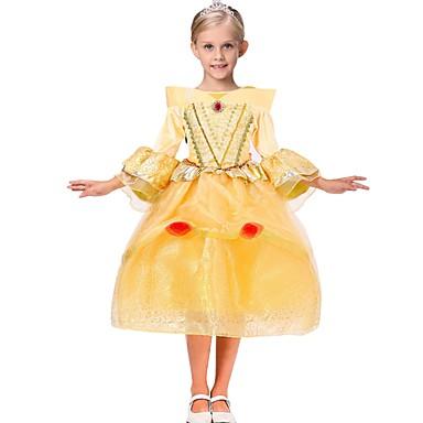 لفتاة فستان ورد مربع النقش تطريز قطن رايون أكريليك بوليستر خريف كل الفصول 3/4 الكم