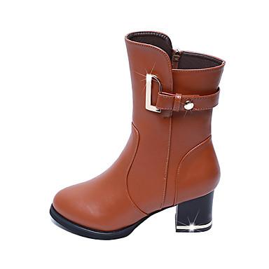 Damen Stiefel Modische Stiefel Kunstleder Winter Normal Kleid Schnalle Reißverschluss Blockabsatz Schwarz Braun 5 - 7 cm
