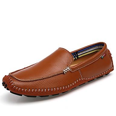 Men's Leatherette / Cowhide Spring / Fall Comfort Loafers & Slip-Ons Black / Brown / Blue