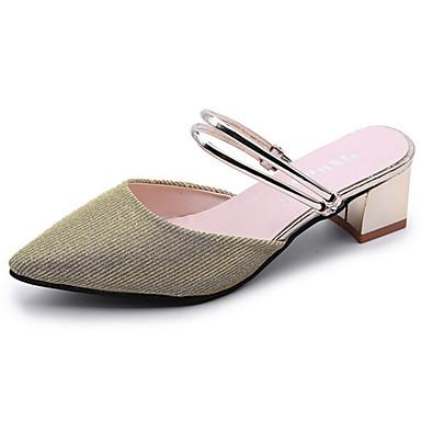 Damen High Heels Komfort Sommer PU Normal Kombination Blockabsatz Gold Silber 2,5 - 4,5 cm