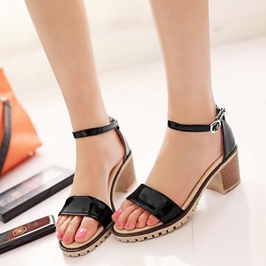 Damen Schuhe PU Sommer Komfort Sandalen Flacher Absatz für Normal Weiß Schwarz Beige Rot