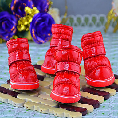 Dog Boots / Shoes Casual / Daily / Keep Warm Solid Colored Fuchsia / Red / Blue For Pets
