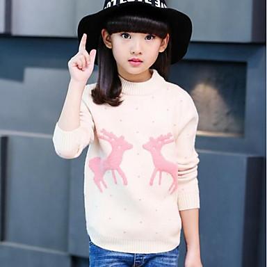baratos Suéteres & Cardigans para Meninas-Infantil Para Meninas Desenho Animal Manga Longa Algodão Blusa Rosa