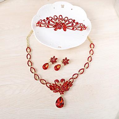 Női Strassz Ékszer szett - Divat Crown Shape Piros Elöl is és hátul is stílusos fülbevalók / Nyaklánc Kompatibilitás Esküvő