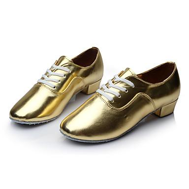 Herrn Schuhe für den lateinamerikanischen Tanz Kunstleder Sneaker Maßgefertigter Absatz Maßfertigung Tanzschuhe Gold
