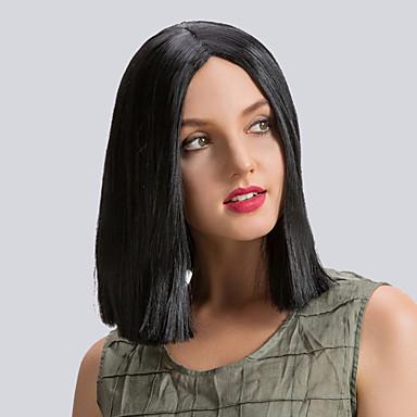 Szintetikus parókák Egyenes Szintetikus haj Fekete Paróka Közepes Természetes paróka Sapka nélküli