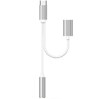 USB 2.0 Type C adapter kábel, USB 2.0 Type C to 3,5 mm-es audio jack USB 2.0 adapter kábel Papa - Mama 0,12 (0.4Ft)