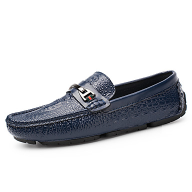 Men's Moccasin Nappa Leather Summer / Fall Loafers & Slip-Ons Black / Dark Blue / Light Brown / Party & Evening