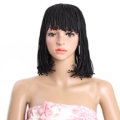 Synthetic Wig Bob Haircut Synthetic Hair 100% kanekalon hair Wig Capless Medium Brown Natural Black