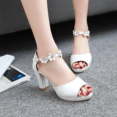 Damen Schuhe PU Sommer Komfort High Heels Blockabsatz Peep Toe Für Normal Weiß Rosa Mandelfarben