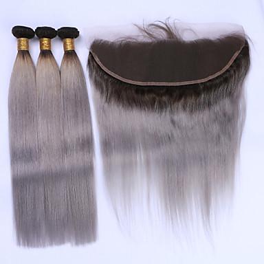 Brazilian Hair Straight Hair Weft with Closure Human Hair Weaves Black / Grey Human Hair Extensions