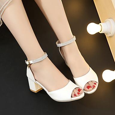 Damen Sandalen Komfort Sommer PU Normal Blockabsatz Weiß Blau Rosa 5 - 7 cm