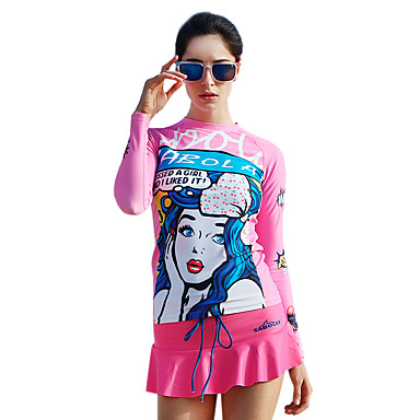 SABOLAY Women's Diving Rash Guard Boating Ultraviolet Resistant Tactel Elastane Terylene Long Sleeves Rash Guard Top Swimming Beach