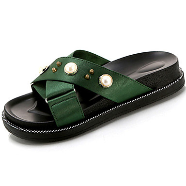 Damen Slippers & Flip-Flops Komfort Sommer PU Normal Perlenstickerei Flacher Absatz Schwarz Grün Flach