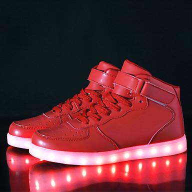 povoljno Ženske cipele-Žene Sneakers LED cipele Niska potpetica Kopčanje na kukicu / LED Umjetna koža Udobne cipele / Svjetleće tenisice Hodanje Jesen / Zima Crn / Pink / Crvena / EU42