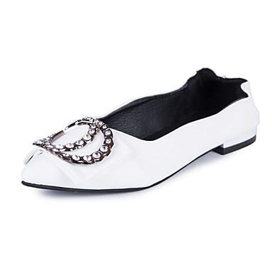 Damen Schuhe PU Sommer Komfort Flache Schuhe Walking Flacher Absatz Spitze Zehe Strass für Weiß / Schwarz / Beige