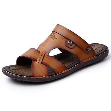 Herren Schuhe PU Frühling Sommer Komfort Leuchtende Sohlen Sandalen Perlenstickerei Für Normal Dunkelblau Hellbraun Khaki