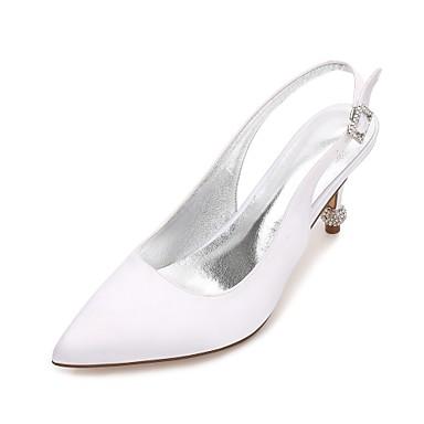 Női Cipő Szatén Tavasz / Nyár Boka pántos / Magasított talpú / Kényelmes Esküvői cipők Cicasarok / Magas / Alacsony Erősített lábujj