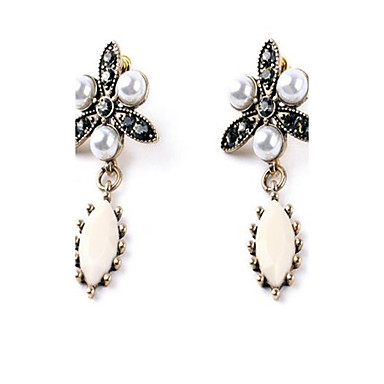 Damen Ohrstecker Imitierte Perlen Strass Personalisiert Sexy Modisch nette Art überdimensional Aleación Blumenform Tropfen Schmuck Für